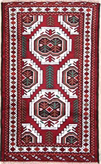 One-of-A-Kind New Turkoman Tribal Geometric Hand-Knotted 3x4 Red Wool Persian Area Rug (3' 8
