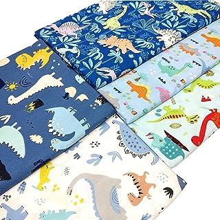 "ZAIONE 5pcs Set 100% Cotton Dinosaur Print Fabric Fat Quarter Bundle 19.6"" x 19.6"" Cartoon Dinosaur Printed Pattern Quilti..."