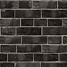 Tempaper Ebony Brick | Designer Removable Peel and Stick Wallpaper