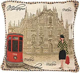 DaDa Bedding Throw Pillow Cover - Luxury Elegant Accent Scenery Postcard of Milan Italy Tapestry Decorative 1 Piece Cushion Cover - 18