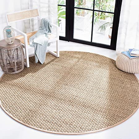 Amazon Com Safavieh Natural Fiber Collection Nf114a Border Basketweave Seagrass Area Rug 7 X 7 Round Beige Furniture Decor