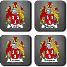 Robertson Coat of Arms/Family Crest Coaster Set, by Carpe Diem Designs – Made in the U.S.A.