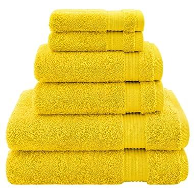 Hotel & Spa Quality, Absorbent & Soft Decorative Kitchen & Bathroom Sets, 100% Turkish Genuine Cotton 6 Piece Towel Set, Includes 2 Bath Towels, 2 Hand Towels, 2 Washcloths - Lemon Yellow