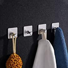 Aikzik Handdoekhaken, 4 stuks, zelfklevend, roestvrij staal, voor badkamer en keuken, zonder boren