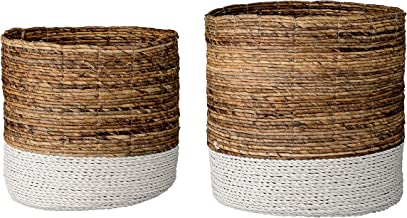 Bloomingville Set of 2 Brown & White Raffia and Banana Leaf Baskets, Natural