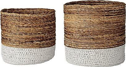 Bloomingville Set of 2 Brown & White Raffia and Banana Leaf Baskets