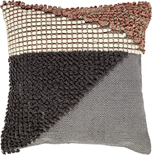 Rivet Modern Multi-Texture Throw Pillow - 18 x 18 Inch, Gray / Red