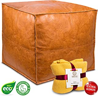 """Handmade Faux Leather Moroccan Pouf Seat - Embroidered Boho Ottoman Footstool 18x18x14"""" / Living Room Bedroom TV Room / A Square and Large Hassock - Unstuffed - Brown with Soft Yellow Throw Blanket"""