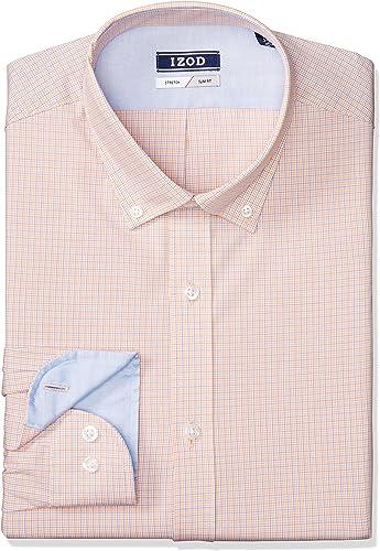 IZOD Hommes's Robe Shirts Slim Fit Stretch Mini Plaid, Whiskey, 18.5  Neck 34-35  Sleeve