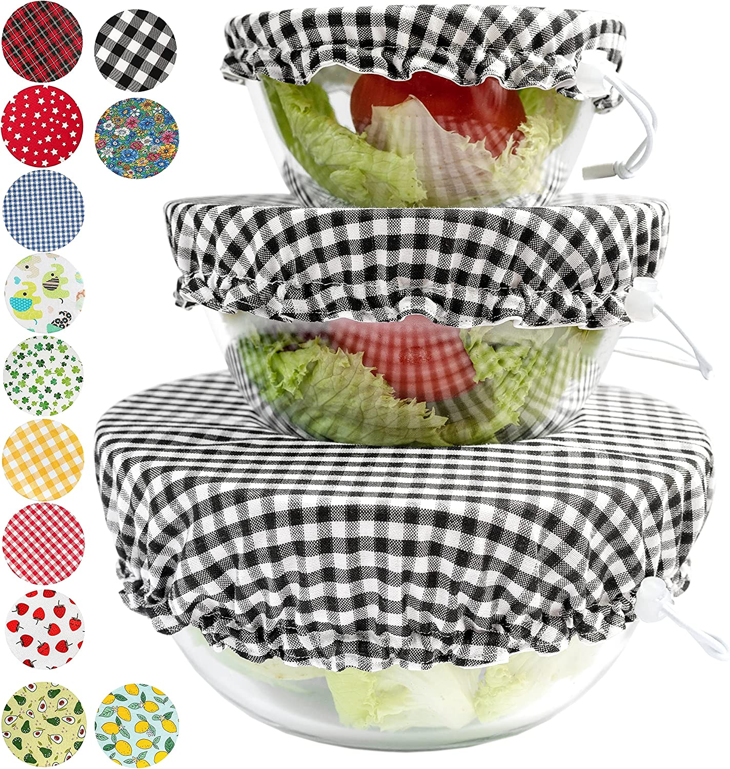 Handmade Reusable Cotton Fabric Bowl Covers - Two Layers of Fabric - Set of 3 (Black plaid)