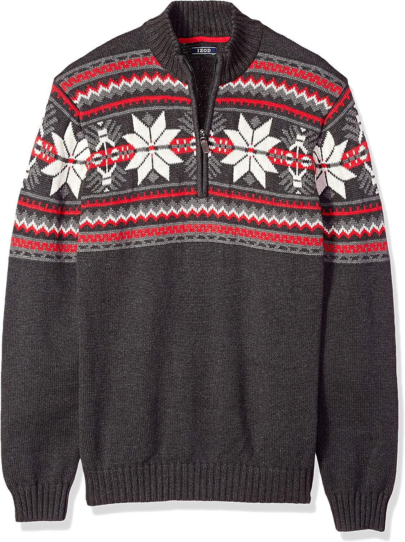 IZOD Men's Big and Tall Fairisle Quarter Zip 5 Gauge Sweater