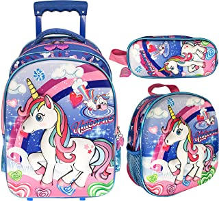3D UNICORN SCHOOL TROLLEY BAG WITH BACKPACK FOR KIDS GIRL 18 INCH INCLUDE LUNCH BAG AND PENCIL POUCH