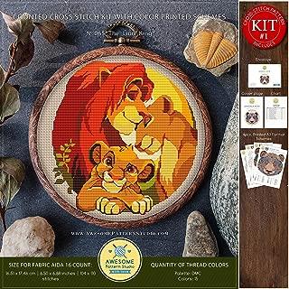 The Lion King #K065 Embroidery Kit | Disney Cross Stitch Patterns | How to Cross Stitch | Needlepoint Kits | Funny Animals Stitch Design | Embroidery Stitches