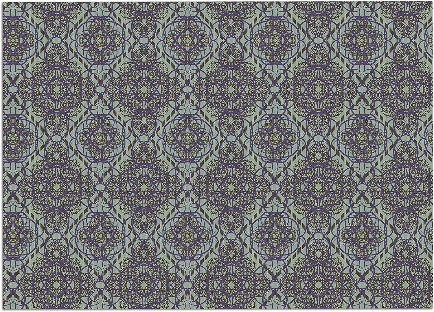 KESS InHouse AA1027ADM02 Mydeas Green and Purple Scroll Damask Green Purple Vector Dog Place Mat, 24 x15