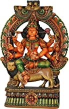 MATA Durga with Prabhawali Throne - Wood Statue