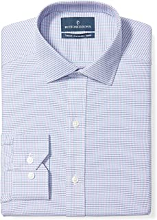 "Buttoned Down Men's Tailored Fit Spread-Collar Pattern Non-Iron Dress Shirt, Pink/Blue Micro Check, 17.5"" Neck 38"" Sleeve"