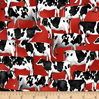 Heritage Usa Cows Red Fabric by the Yard