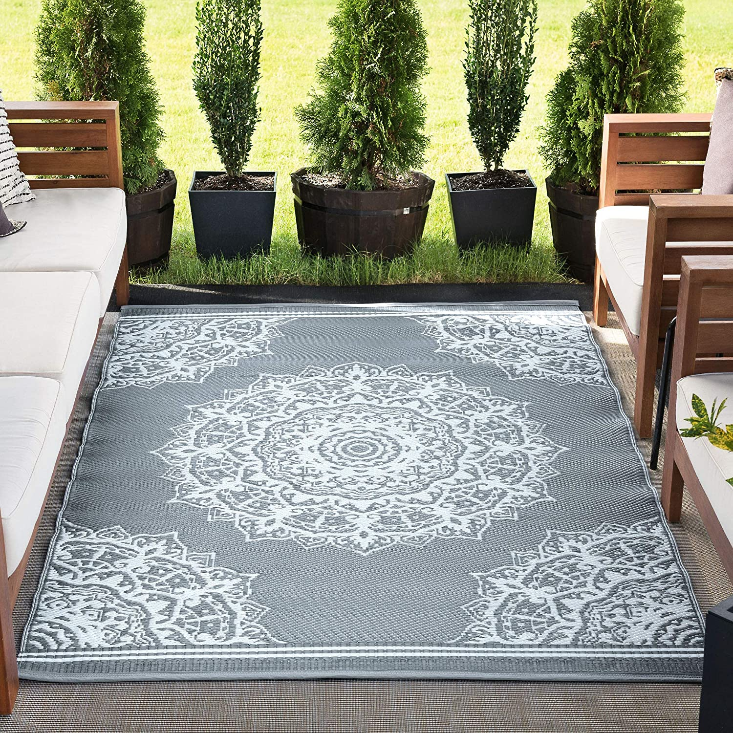Max 56% OFF Anvi Gray Reversible Plastic Straw Outdoor Direct store Pat Patio for 5x7 Rug