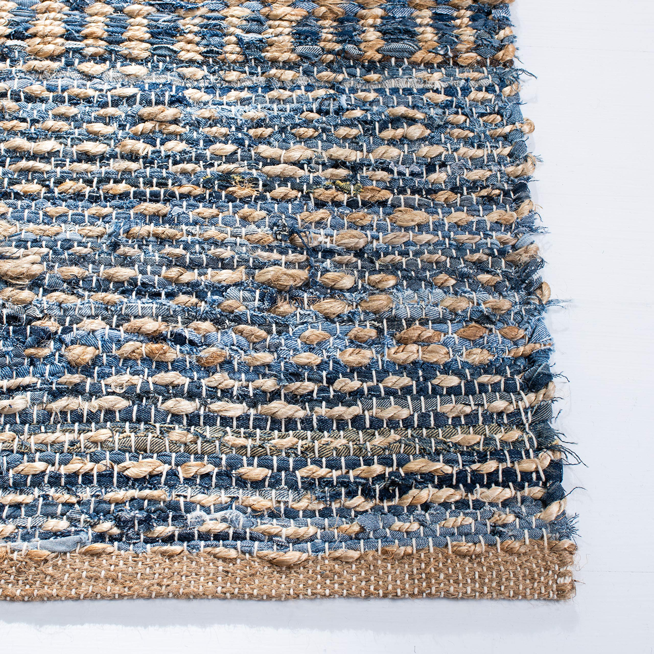 Safavieh Cape Cod Collection CAP353A Handmade Flatweave Coastal Braided Jute Area Rug, 3' x 5', Natural / Blue