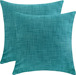 The White Petals Teal Euro Pillow Covers for Bed (26x26 inch, Pack of 2)