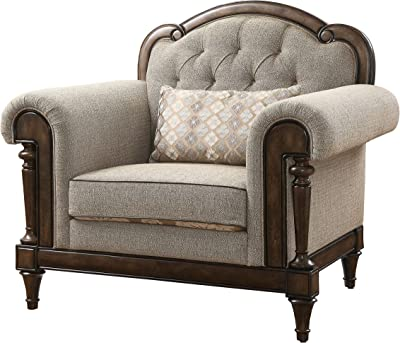 Benjara Fabric Armchair with Scalloped Back and Button Tufted Details, Brown
