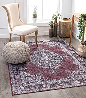 "Well Woven Mareva Machine Washable Burgundy Red Vintage Oriental Medallion Area Rug 8x10 (7'7"" x 9'6"")"