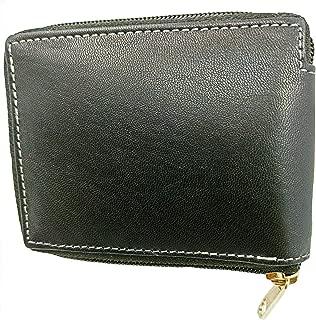 Genuine Leather Wallet for Mens Run Zipper Original Sheep Leather (Black)