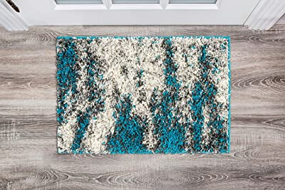 Rugshop Contemporary Abstract Design Plush Shag Area Rug 2' x 3' Turquoise