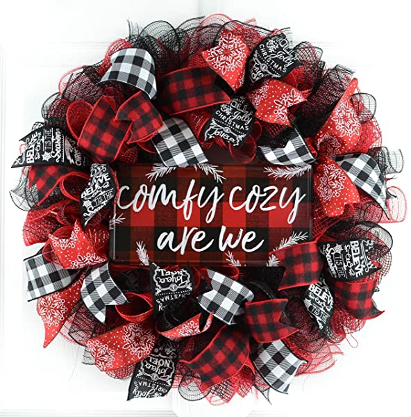 Buffalo Plaid Check Wreath Comfy Cozy Are We Christmas Wreath White Red Black
