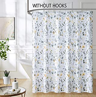Fragrantex Yellow and Grey Flower Shower Curtain for Bathroom Floral Botanical Watercolor Print Soft Microfiber Fabric,70 W x 72 L Swag Boho Buttonholes Shower Curtain Sets for Hotel Spa Bath Room