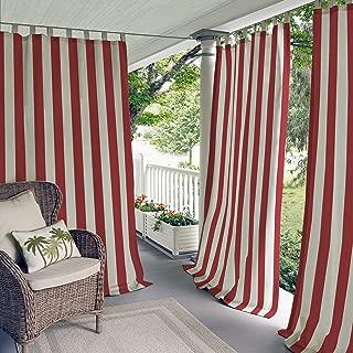 Elrene Home Fashions 26865874433 Indoor/Outdoor Tab Top Stripe Single Panel Window Curtain Drape, 50