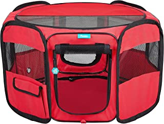 Pawdle Deluxe Premium Foldable Portable Traveling Exercise Pet Playpen Kennel Cats, Dogs, Kittens and All Pets - Travel Carrying Case - in Ground Stakes - Removable Shaded Cover and Bottom by