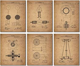 Tesla Patent Wall Art Prints - Set of 6 Vintage (8 inches x 10 inches) Photos