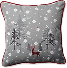 Pillow Perfect The Reindeer Throw Pillow, 16.5, Grey-Red