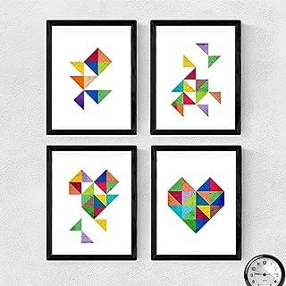 Nacnic Ensemble de 4 Photos pour encadrer Coeur. Quatre Affiches avec des Images géométriques. Composition de Coeur. Feuil...