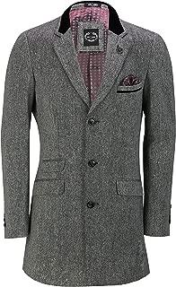 Mens 3/4 Long Tweed Overcoat Jacket Vintage Styled Peaky Blinders Tailored Fit Coat