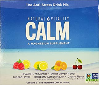 Natural Vitality Anti Stress Calm Magnesium Citrate Powder Supplement Drink | Raspberry Lemon Sweet Lemon Orange Cherry Or...