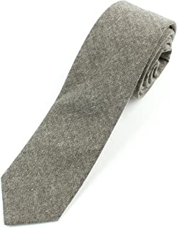 "Men's Chambray Cotton Skinny Necktie Tie Textured Distressed Style - 2 1/2"" Width"
