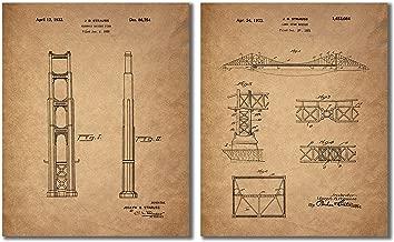 Golden Gate Bridge Patent Prints - Set of 2 Vintage Joseph Strauss Wall Art Decor Photos