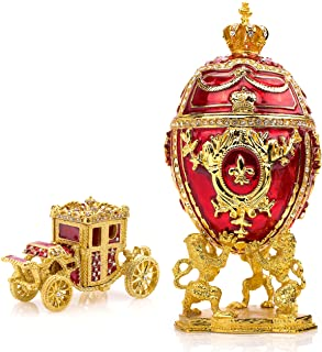 Unique, Decorative Red Faberge Egg: Extra Large 6.6 inches, Hand Painted Jewelry Box for the Ultimate Home Décor, Comes with Gift Faberge Carriage, Store Your Rings, Earrings and Jewelry in Style