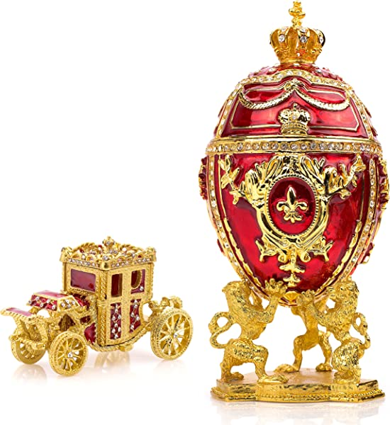 Unique Decorative Red Faberge Egg Extra Large 6 6 Inches Hand Painted Jewelry Box For The Ultimate Home D Cor Comes With Gift Faberge Carriage Store Your Rings Earrings And Jewelry In Style