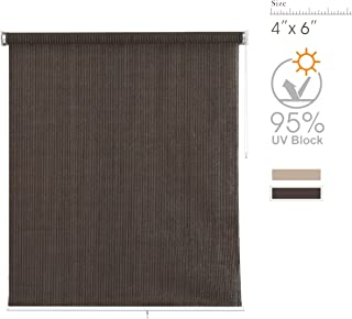 PHI VILL Sun Shade Roller Outdoor Blinds Patio Roller Shade Sun Block 95% UV Protection (4'W x 6'L) Coffee
