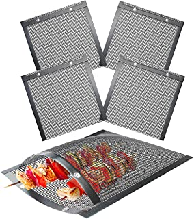 Skywin Mesh Grill Bags - Non Stick Temperature Resistant PTFE Reusable Mesh Barbecue Pouches for Easy BBQ Grilling of Onio...