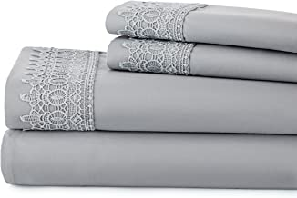 Southshore Fine Linens Set of 2 Pillows LACE Cases - Steel Gray - Full/Queen