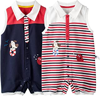 COTTON FAIRY Baby Boys 2-Pack Polo Rompers Sleeveless Jumpsuit Bodysuit Onesies Clothes