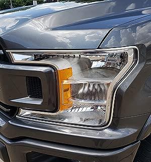 TRUE LINE Automotive Truck Headlight Trim Bezel Cover Molding Kit for 2016-2020 F-150 (Chrome)