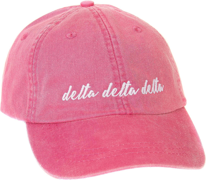 Delta Delta Delta (N) Sorority Baseball Hat Cap Cursive Name Font tri Delta