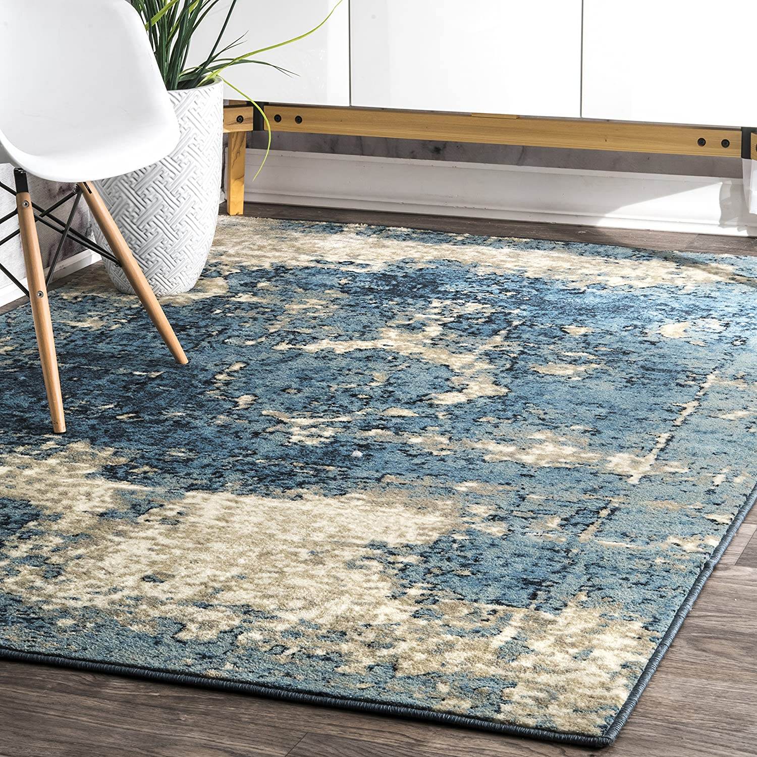 nuLOOM New life Vintage Lindsy Distressed Rug 7' Square Blue Today's only 10
