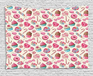 Candy Cane Tapestry, Yummy Sweet Lollipop Candy Macaroon Cupcake and Donut on Polka Dots Pattern, Wall Hanging for Bedroom...