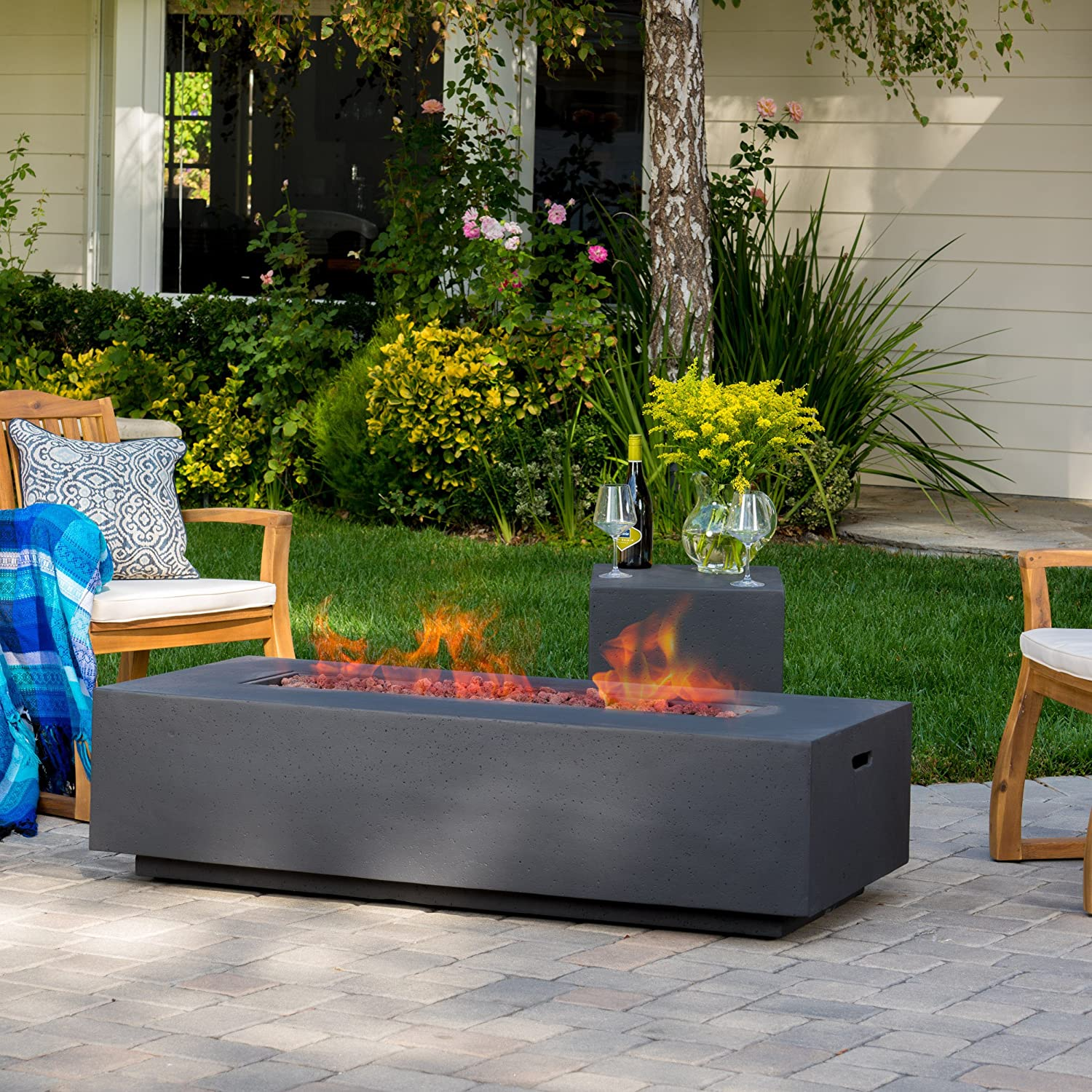 Baltimore Mall GDFStudio Jaxon Outdoor Fire Table with Lava Holder Limited time for free shipping Rocks Tank